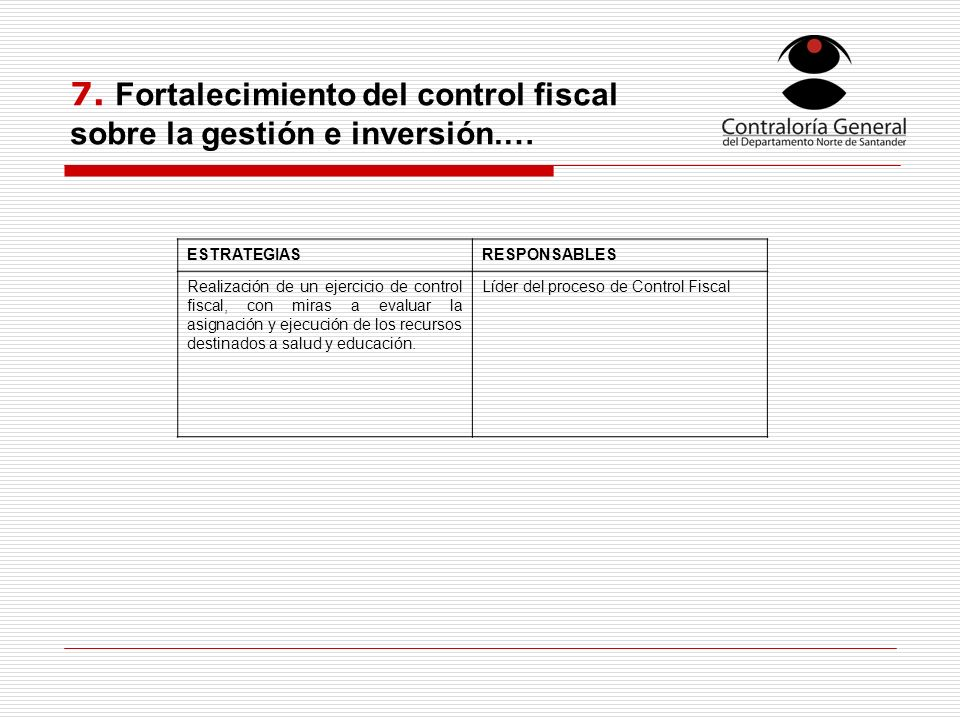7. Fortalecimiento del control fiscal sobre la gestión e inversión.… ESTRATEGIASRESPONSABLES Realización de un ejercicio de control fiscal, con miras