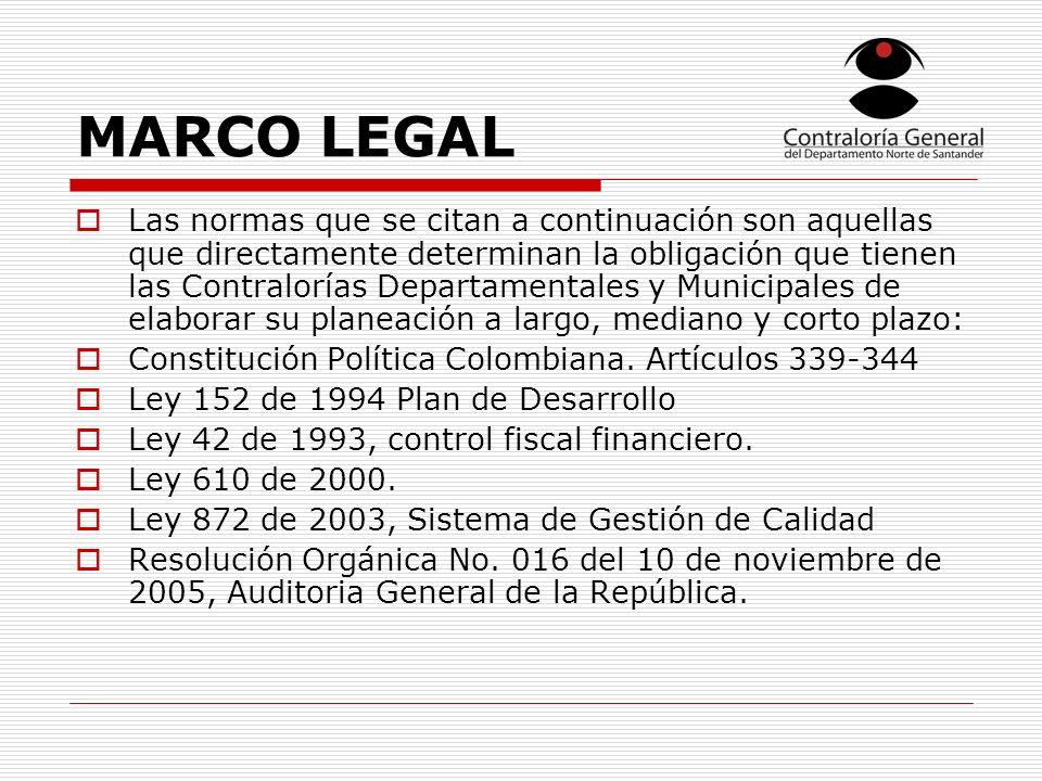 MARCO LEGAL Las normas que se citan a continuación son aquellas que directamente determinan la obligación que tienen las Contralorías Departamentales y Municipales de elaborar su planeación a largo, mediano y corto plazo: Constitución Política Colombiana.