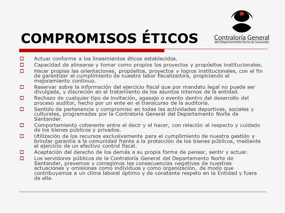 COMPROMISOS ÉTICOS Actuar conforme a los lineamientos éticos establecidos.