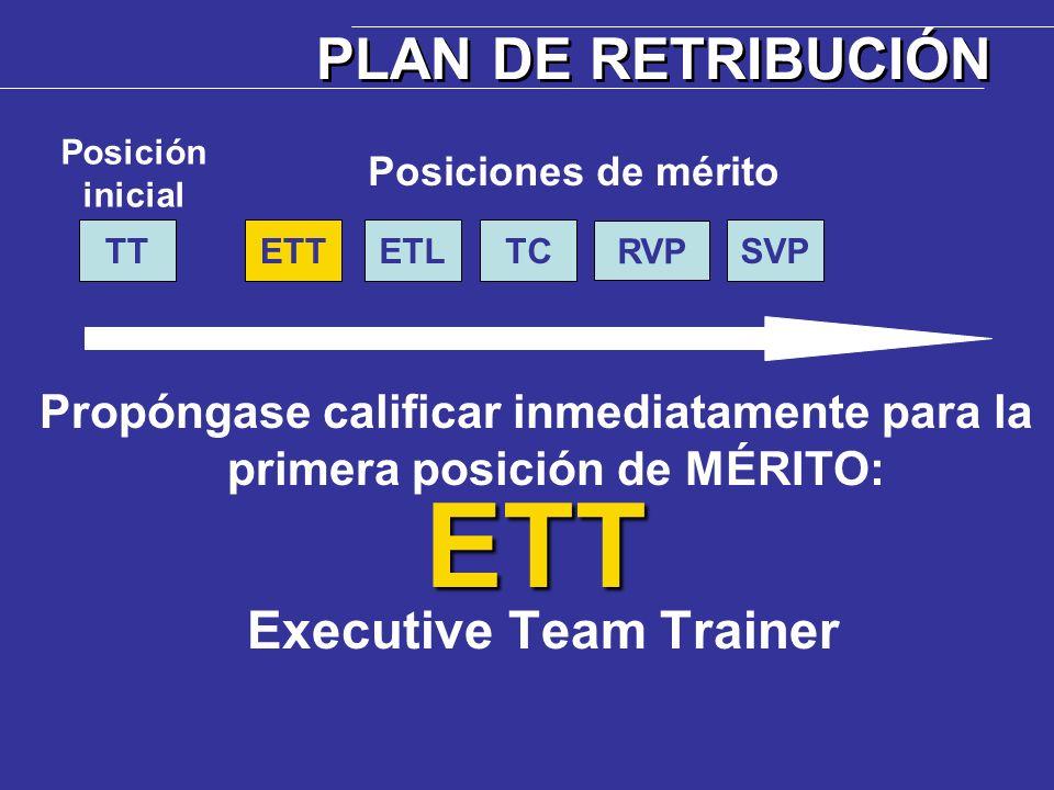 Propóngase calificar inmediatamente para la primera posición de MÉRITO:ETT Executive Team Trainer PLAN DE RETRIBUCIÓN ETTTT Posición inicial Posicione