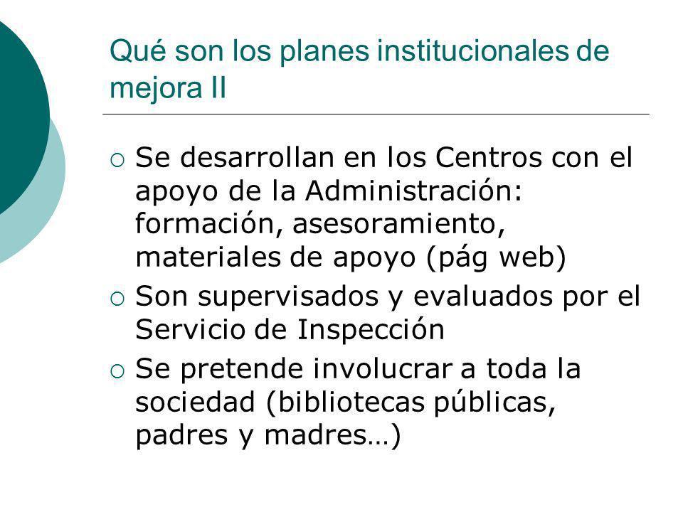 Qué son los planes institucionales de mejora II Se desarrollan en los Centros con el apoyo de la Administración: formación, asesoramiento, materiales
