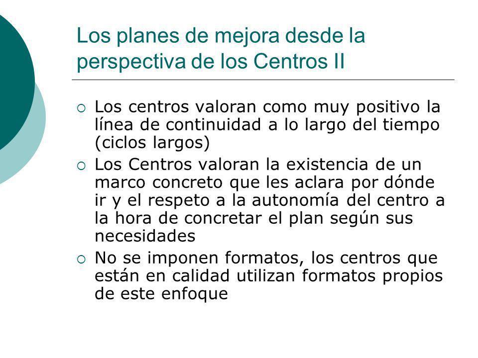Los planes de mejora desde la perspectiva de los Centros II Los centros valoran como muy positivo la línea de continuidad a lo largo del tiempo (ciclo