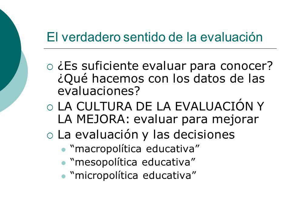 El verdadero sentido de la evaluación ¿Es suficiente evaluar para conocer? ¿Qué hacemos con los datos de las evaluaciones? LA CULTURA DE LA EVALUACIÓN