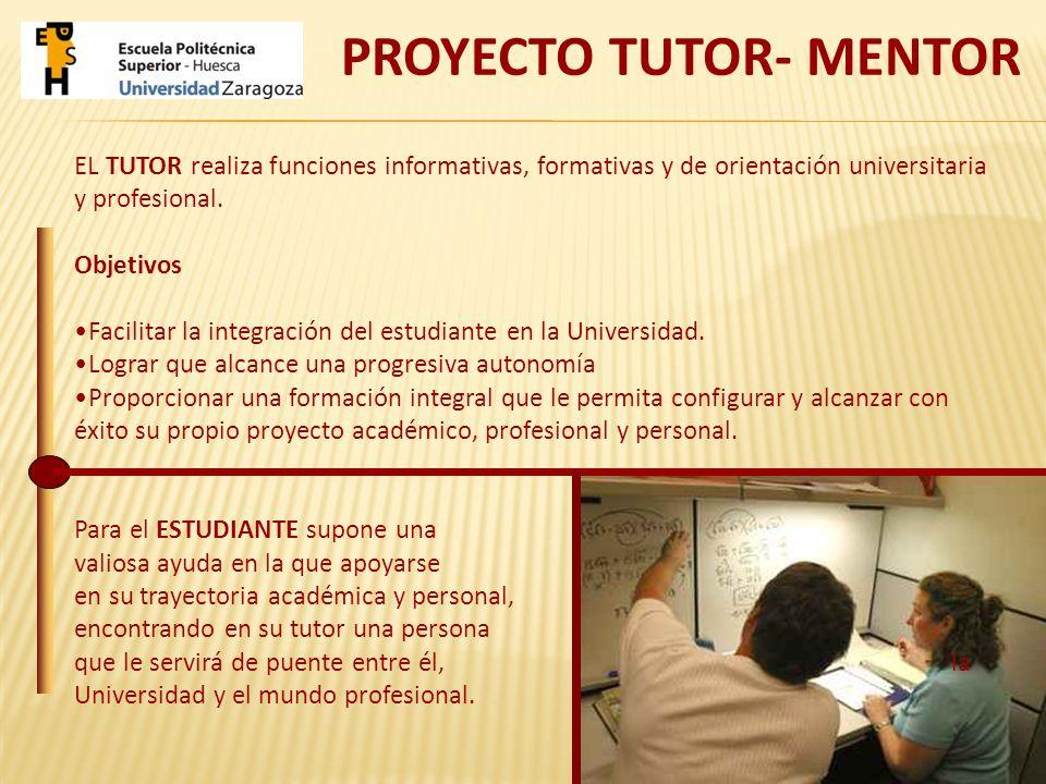 EL TUTOR realiza funciones informativas, formativas y de orientación universitaria y profesional. Objetivos Facilitar la integración del estudiante en