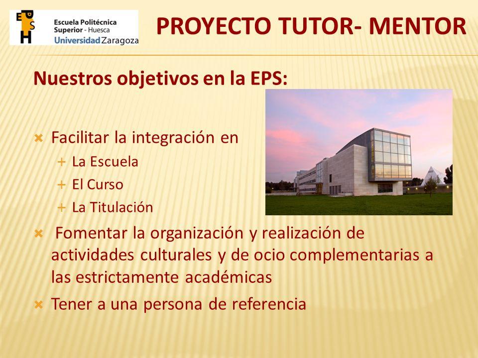Nuestros objetivos en la EPS: Facilitar la integración en La Escuela El Curso La Titulación Fomentar la organización y realización de actividades cult