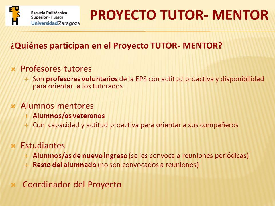 ¿Quiénes participan en el Proyecto TUTOR- MENTOR? Profesores tutores Son profesores voluntarios de la EPS con actitud proactiva y disponibilidad para