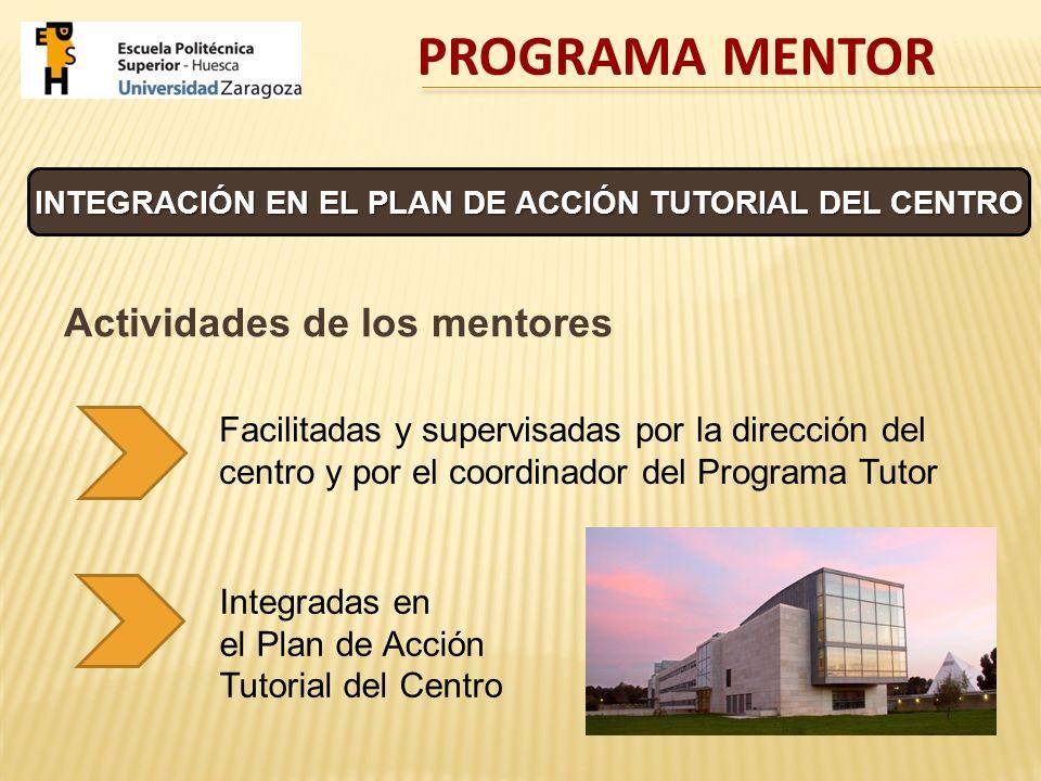 INTEGRACIÓN EN EL PLAN DE ACCIÓN TUTORIAL DEL CENTRO Actividades de los mentores Integradas en el Plan de Acción Tutorial del Centro Facilitadas y sup