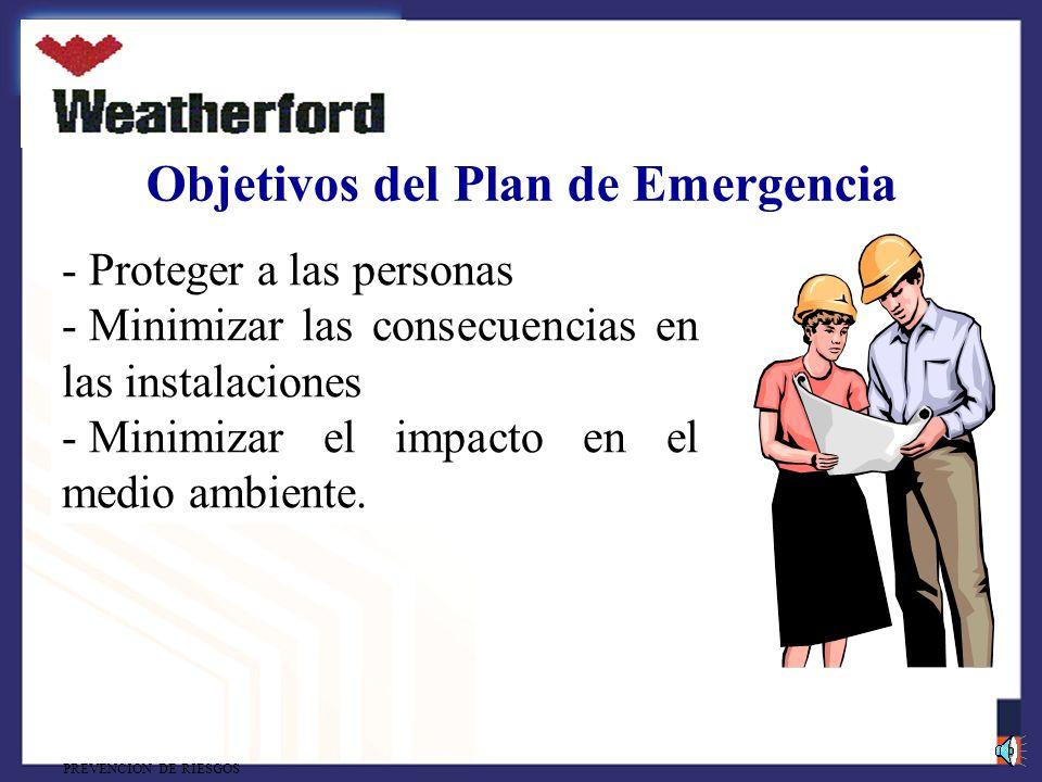 PREVENCION DE RIESGOS Objetivos del Plan de Emergencia - Proteger a las personas - Minimizar las consecuencias en las instalaciones - Minimizar el impacto en el medio ambiente.