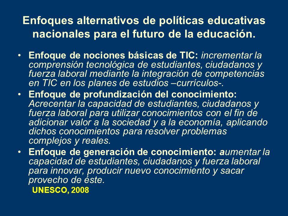 Enfoques alternativos de políticas educativas nacionales para el futuro de la educación. Enfoque de nociones básicas de TIC: incrementar la comprensió