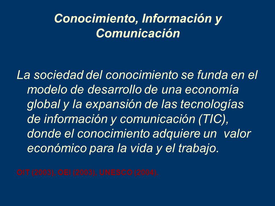 Conocimiento, Información y Comunicación La sociedad del conocimiento se funda en el modelo de desarrollo de una economía global y la expansión de las