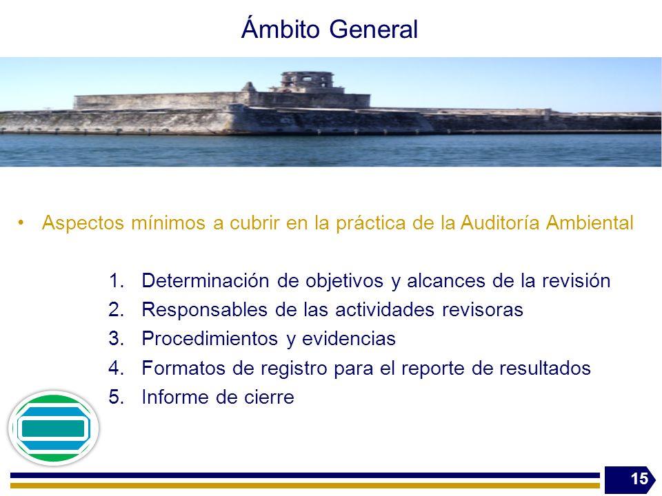 Ámbito General Aspectos mínimos a cubrir en la práctica de la Auditoría Ambiental 1.Determinación de objetivos y alcances de la revisión 2.Responsable