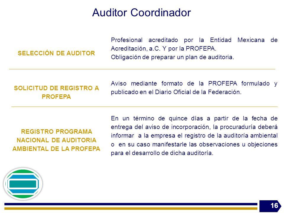 Auditor Coordinador SELECCIÓN DE AUDITOR Profesional acreditado por la Entidad Mexicana de Acreditación, a.C. Y por la PROFEPA. Obligación de preparar