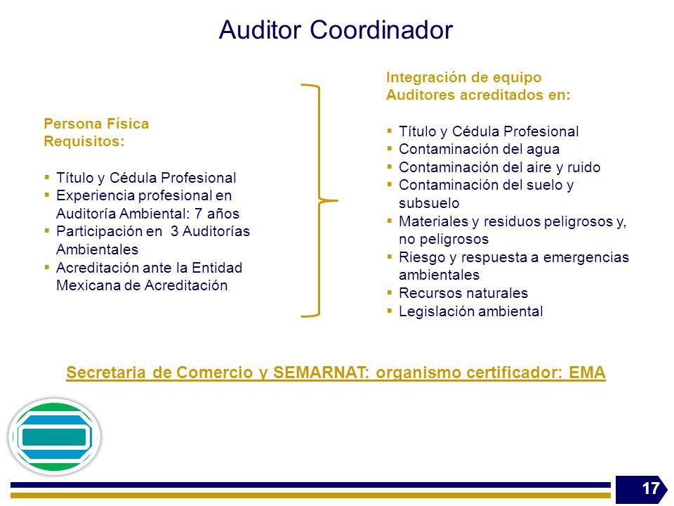 Auditor Coordinador 17 Secretaria de Comercio y SEMARNAT: organismo certificador: EMA Persona Física Requisitos: Título y Cédula Profesional Experienc
