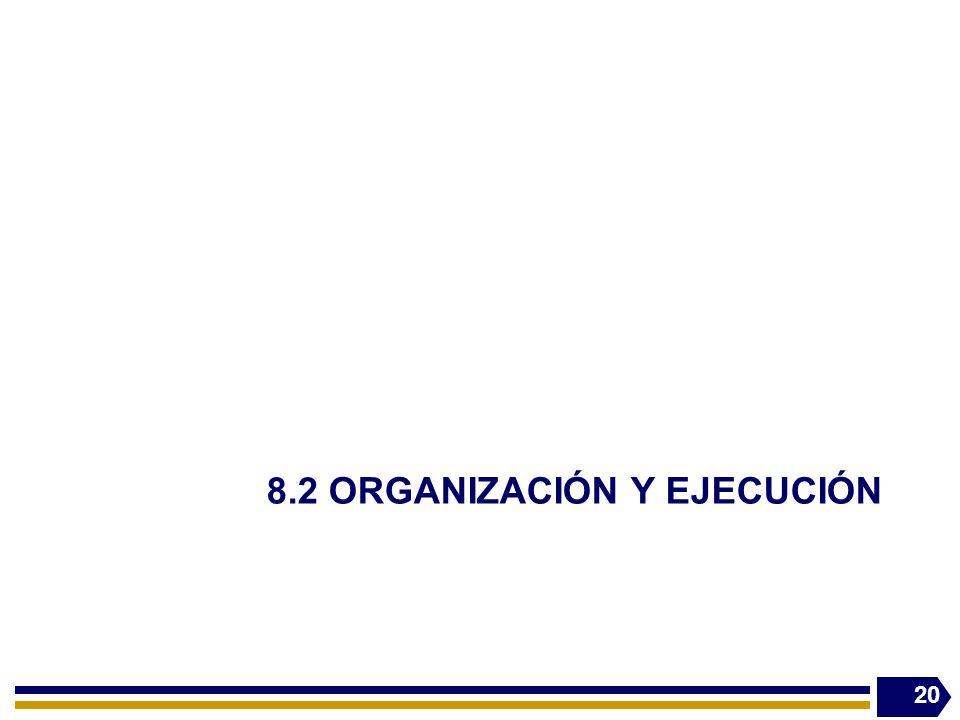 8.2 ORGANIZACIÓN Y EJECUCIÓN 20