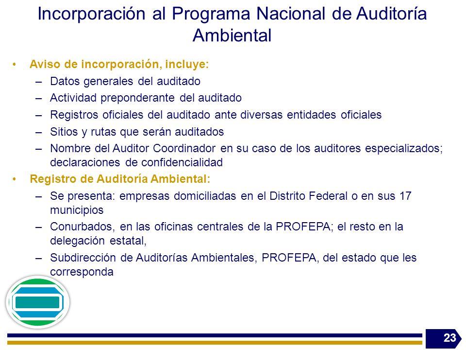 Incorporación al Programa Nacional de Auditoría Ambiental Aviso de incorporación, incluye: –Datos generales del auditado –Actividad preponderante del