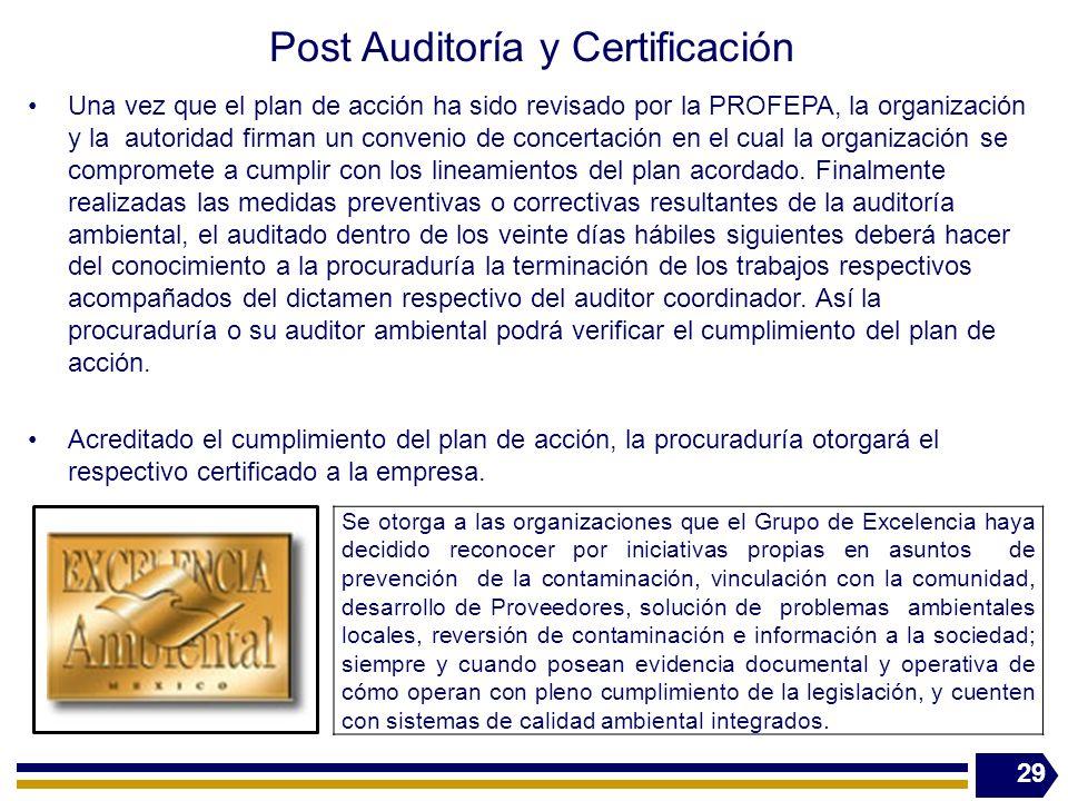 Post Auditoría y Certificación Una vez que el plan de acción ha sido revisado por la PROFEPA, la organización y la autoridad firman un convenio de con