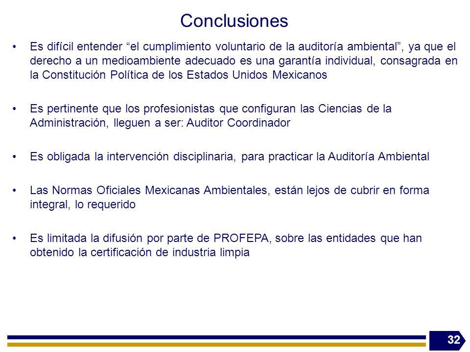 Conclusiones Es difícil entender el cumplimiento voluntario de la auditoría ambiental, ya que el derecho a un medioambiente adecuado es una garantía i