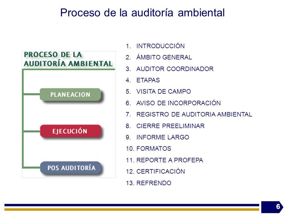 Proceso de la auditoría ambiental 6 1.INTRODUCCIÓN 2.ÁMBITO GENERAL 3.AUDITOR COORDINADOR 4.ETAPAS 5.VISITA DE CAMPO 6.AVISO DE INCORPORACIÓN 7.REGIST