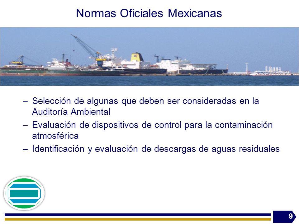 Normas Oficiales Mexicanas –Selección de algunas que deben ser consideradas en la Auditoría Ambiental –Evaluación de dispositivos de control para la contaminación atmosférica –Identificación y evaluación de descargas de aguas residuales 9