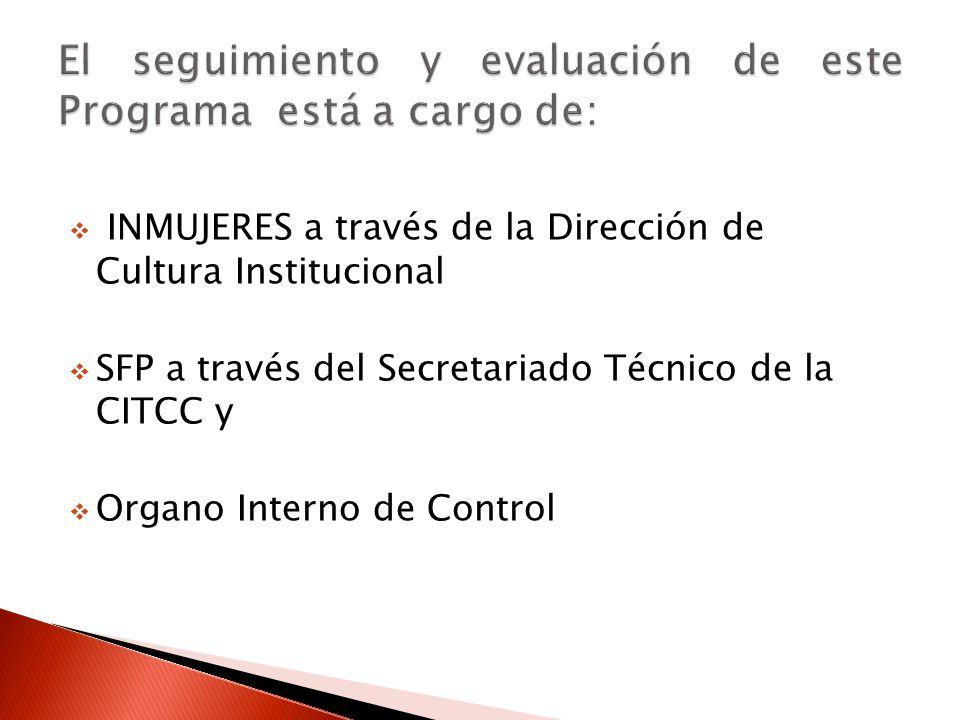 INMUJERES a través de la Dirección de Cultura Institucional SFP a través del Secretariado Técnico de la CITCC y Organo Interno de Control