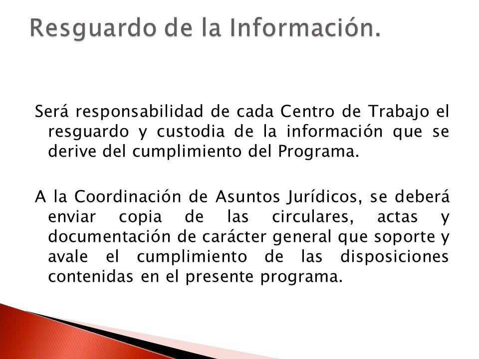 Será responsabilidad de cada Centro de Trabajo el resguardo y custodia de la información que se derive del cumplimiento del Programa.