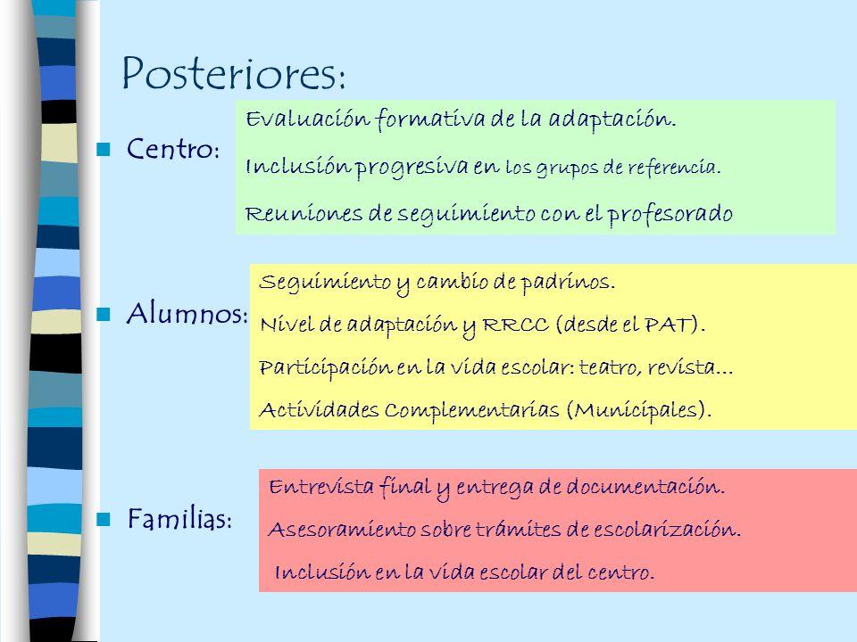 Posteriores: Centro: Alumnos: Familias: Evaluación formativa de la adaptación. Inclusión progresiva en los grupos de referencia. Reuniones de seguimie