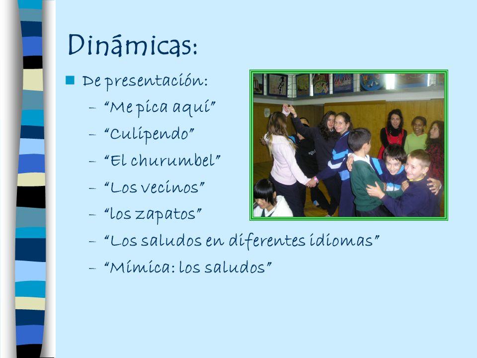 Dinámicas: De presentación: –Me pica aquí –Culipendo –El churumbel –Los vecinos –los zapatos –Los saludos en diferentes idiomas –Mímica: los saludos