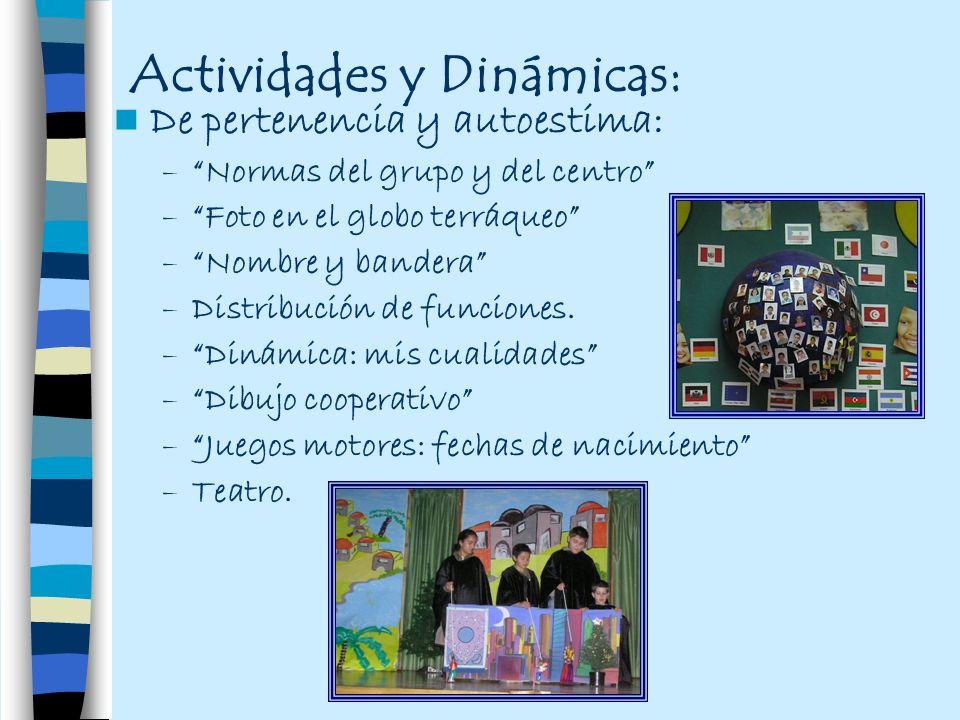 Actividades y Dinámicas: De pertenencia y autoestima: –Normas del grupo y del centro –Foto en el globo terráqueo –Nombre y bandera –Distribución de fu