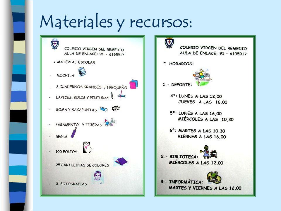 Materiales y recursos: