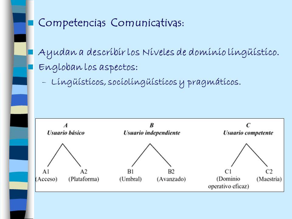 Competencias Comunicativas: Ayudan a describir los Niveles de dominio lingüístico. Engloban los aspectos: –Lingüísticos, sociolingüísticos y pragmátic