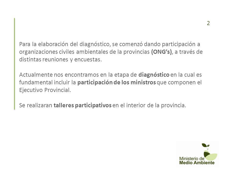 Para la elaboración del diagnóstico, se comenzó dando participación a organizaciones civiles ambientales de la provincias (ONGs), a través de distinta