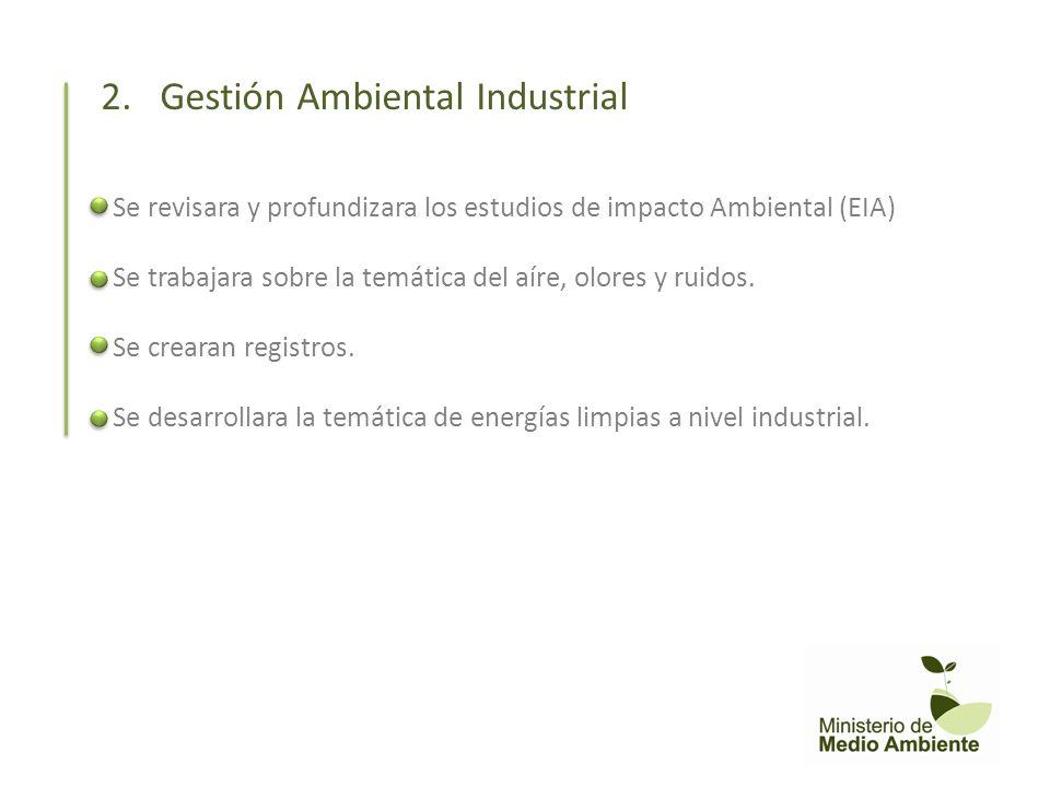 Se revisara y profundizara los estudios de impacto Ambiental (EIA) Se trabajara sobre la temática del aíre, olores y ruidos. Se crearan registros. Se