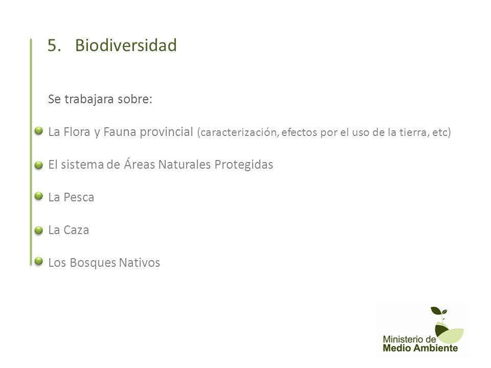 Se trabajara sobre: La Flora y Fauna provincial (caracterización, efectos por el uso de la tierra, etc) El sistema de Áreas Naturales Protegidas La Pe
