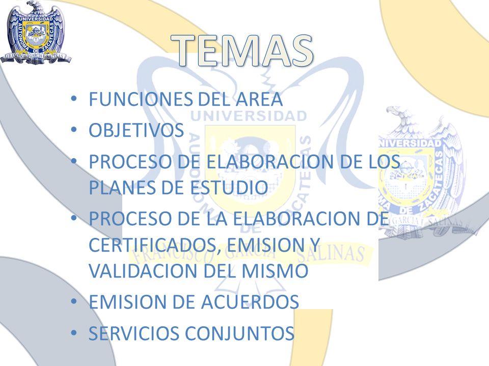 FUNCIONES DEL AREA OBJETIVOS PROCESO DE ELABORACION DE LOS PLANES DE ESTUDIO PROCESO DE LA ELABORACION DE CERTIFICADOS, EMISION Y VALIDACION DEL MISMO