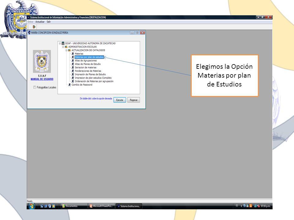 Elegimos la Opción Materias por plan de Estudios