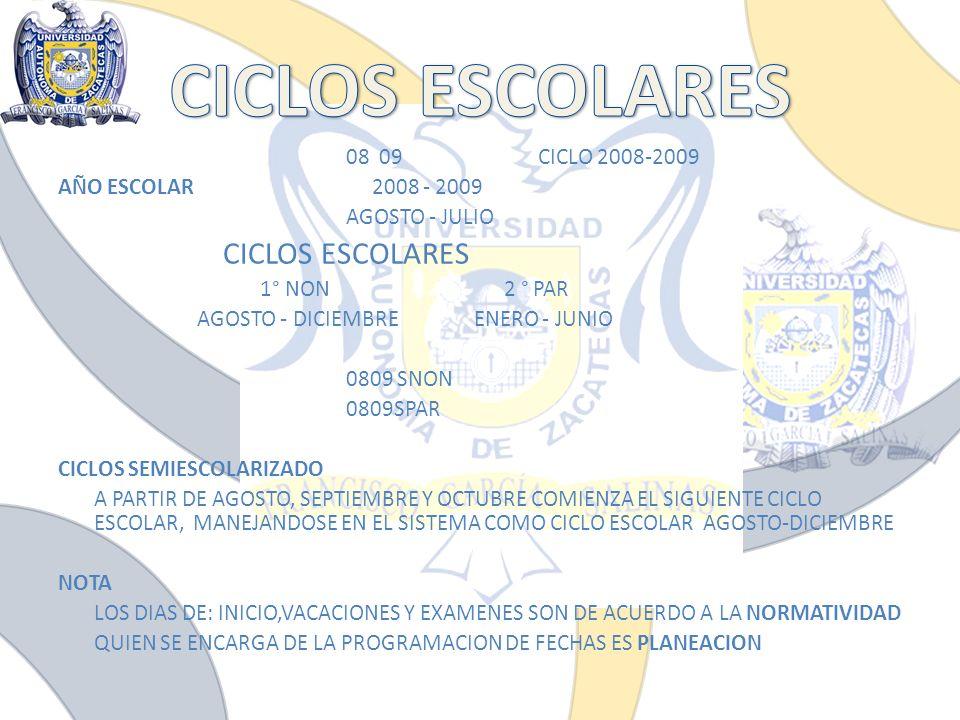 08 09CICLO 2008-2009 AÑO ESCOLAR 2008 - 2009 AGOSTO - JULIO CICLOS ESCOLARES 1° NON 2 ° PAR AGOSTO - DICIEMBRE ENERO - JUNIO 0809 SNON 0809SPAR CICLOS