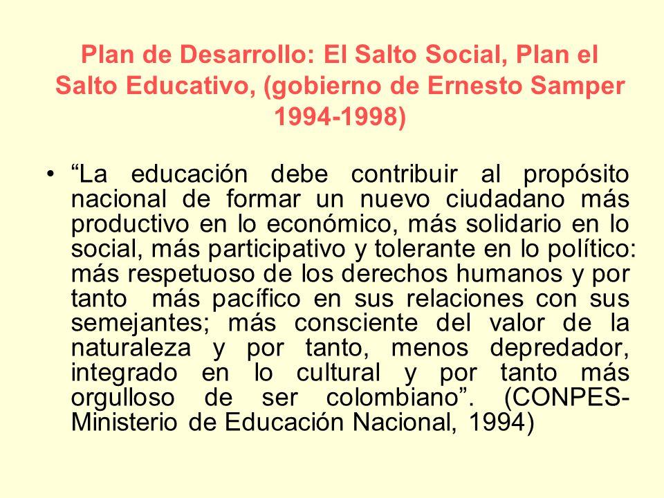 La educación debe contribuir al propósito nacional de formar un nuevo ciudadano más productivo en lo económico, más solidario en lo social, más partic