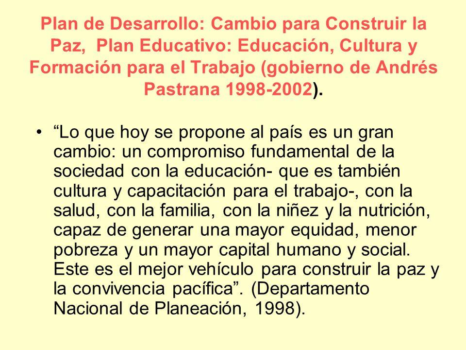 Plan de Desarrollo: Cambio para Construir la Paz, Plan Educativo: Educación, Cultura y Formación para el Trabajo (gobierno de Andrés Pastrana 1998-200