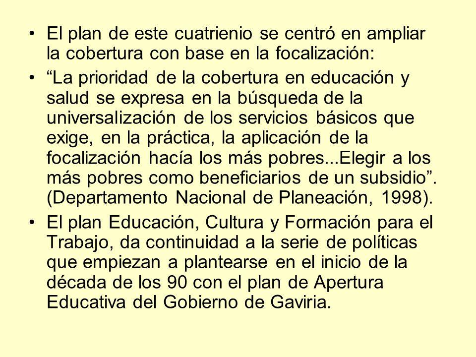El plan de este cuatrienio se centró en ampliar la cobertura con base en la focalización: La prioridad de la cobertura en educación y salud se expresa
