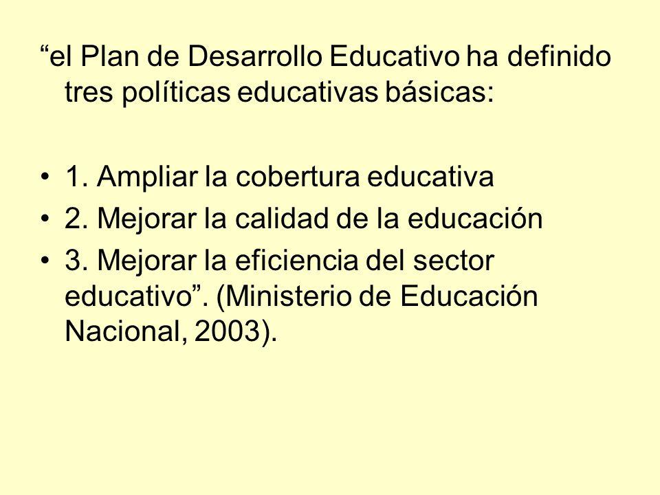 el Plan de Desarrollo Educativo ha definido tres políticas educativas básicas: 1. Ampliar la cobertura educativa 2. Mejorar la calidad de la educación