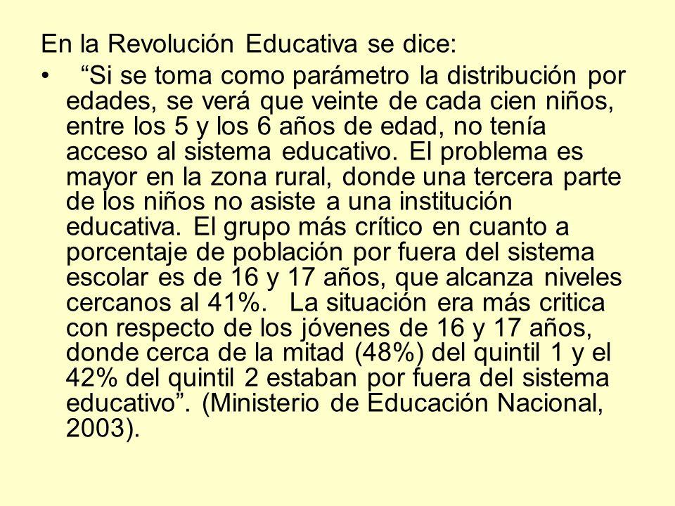 En la Revolución Educativa se dice: Si se toma como parámetro la distribución por edades, se verá que veinte de cada cien niños, entre los 5 y los 6 a