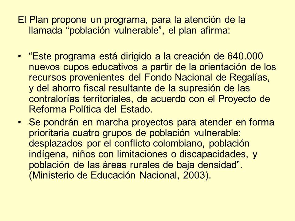 El Plan propone un programa, para la atención de la llamada población vulnerable, el plan afirma: Este programa está dirigido a la creación de 640.000