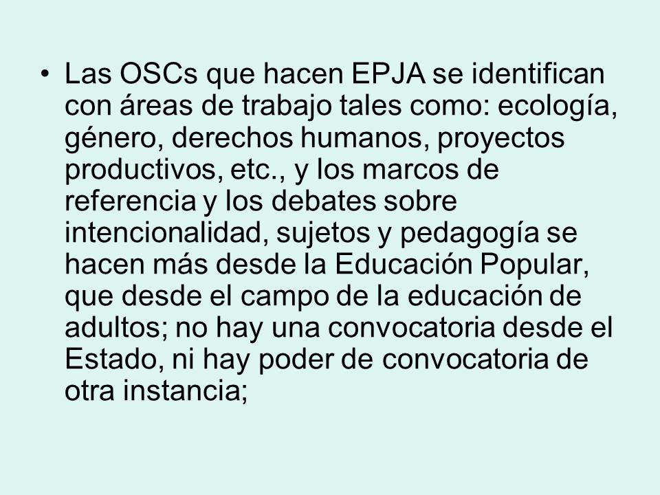 Las OSCs que hacen EPJA se identifican con áreas de trabajo tales como: ecología, género, derechos humanos, proyectos productivos, etc., y los marcos