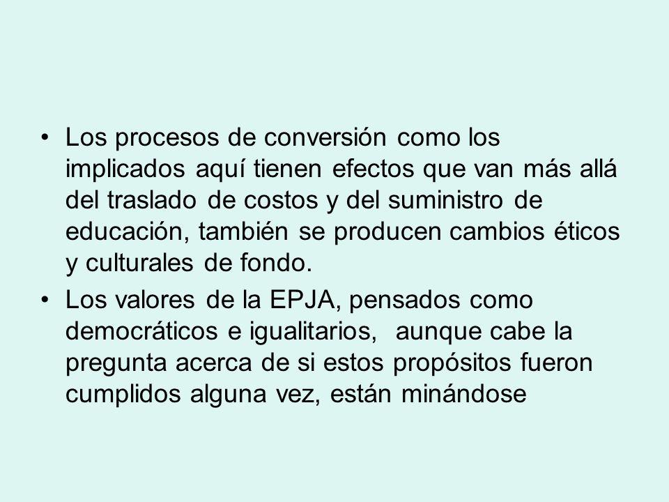 Los procesos de conversión como los implicados aquí tienen efectos que van más allá del traslado de costos y del suministro de educación, también se p