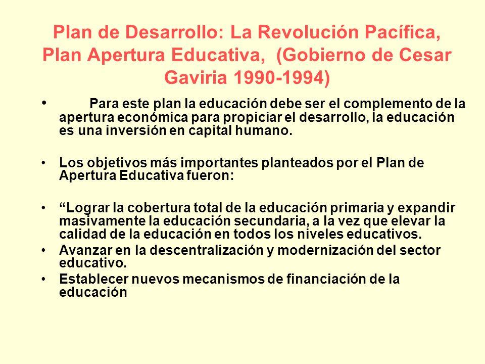 Para este plan la educación debe ser el complemento de la apertura económica para propiciar el desarrollo, la educación es una inversión en capital hu