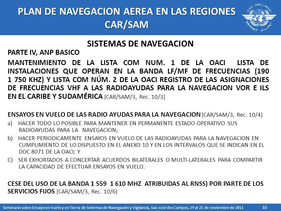 10 PLAN DE NAVEGACION AEREA EN LAS REGIONES CAR/SAM PARTE IV, ANP BASICO MANTENIMIENTO DE LA LISTA COM NUM.