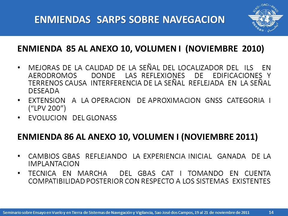 14 ENMIENDAS SARPS SOBRE NAVEGACION ENMIENDA 85 AL ANEXO 10, VOLUMEN I (NOVIEMBRE 2010) MEJORAS DE LA CALIDAD DE LA SEÑAL DEL LOCALIZADOR DEL ILS EN AERODROMOS DONDE LAS REFLEXIONES DE EDIFICACIONES Y TERRENOS CAUSA INTERFERENCIA DE LA SEÑAL REFLEJADA EN LA SEÑAL DESEADA EXTENSION A LA OPERACION DE APROXIMACION GNSS CATEGORIA I (LPV 200) EVOLUCION DEL GLONASS ENMIENDA 86 AL ANEXO 10, VOLUMEN I (NOVIEMBRE 2011) CAMBIOS GBAS REFLEJANDO LA EXPERIENCIA INICIAL GANADA DE LA IMPLANTACION TECNICA EN MARCHA DEL GBAS CAT I TOMANDO EN CUENTA COMPATIBILIDAD POSTERIOR CON RESPECTO A LOS SISTEMAS EXISTENTES Seminario sobre Ensayo en Vuelo y en Tierra de Sistemas de Navegación y Vigilancia, Sao José dos Campos, 19 al 21 de noviembre de 2011