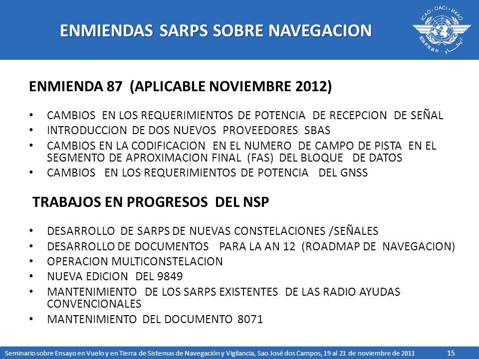 15 ENMIENDAS SARPS SOBRE NAVEGACION ENMIENDA 87 (APLICABLE NOVIEMBRE 2012) CAMBIOS EN LOS REQUERIMIENTOS DE POTENCIA DE RECEPCION DE SEÑAL INTRODUCCIO