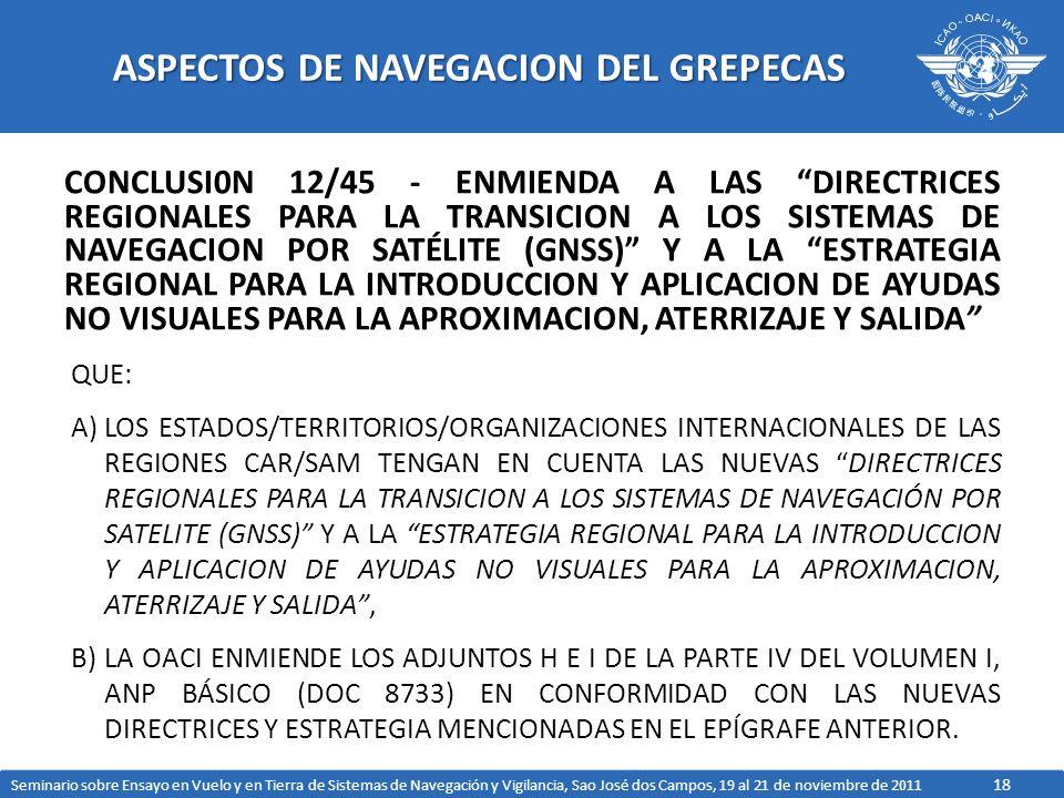 18 ASPECTOS DE NAVEGACION DEL GREPECAS CONCLUSI0N 12/45 - ENMIENDA A LAS DIRECTRICES REGIONALES PARA LA TRANSICION A LOS SISTEMAS DE NAVEGACION POR SATÉLITE (GNSS) Y A LA ESTRATEGIA REGIONAL PARA LA INTRODUCCION Y APLICACION DE AYUDAS NO VISUALES PARA LA APROXIMACION, ATERRIZAJE Y SALIDA QUE: A)LOS ESTADOS/TERRITORIOS/ORGANIZACIONES INTERNACIONALES DE LAS REGIONES CAR/SAM TENGAN EN CUENTA LAS NUEVAS DIRECTRICES REGIONALES PARA LA TRANSICION A LOS SISTEMAS DE NAVEGACIÓN POR SATELITE (GNSS) Y A LA ESTRATEGIA REGIONAL PARA LA INTRODUCCION Y APLICACION DE AYUDAS NO VISUALES PARA LA APROXIMACION, ATERRIZAJE Y SALIDA, B)LA OACI ENMIENDE LOS ADJUNTOS H E I DE LA PARTE IV DEL VOLUMEN I, ANP BÁSICO (DOC 8733) EN CONFORMIDAD CON LAS NUEVAS DIRECTRICES Y ESTRATEGIA MENCIONADAS EN EL EPÍGRAFE ANTERIOR.