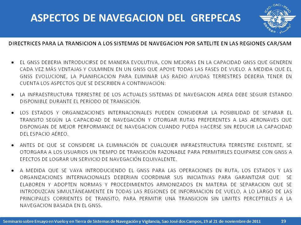 19 ASPECTOS DE NAVEGACION DEL GREPECAS Seminario sobre Ensayo en Vuelo y en Tierra de Sistemas de Navegación y Vigilancia, Sao José dos Campos, 19 al 21 de noviembre de 2011